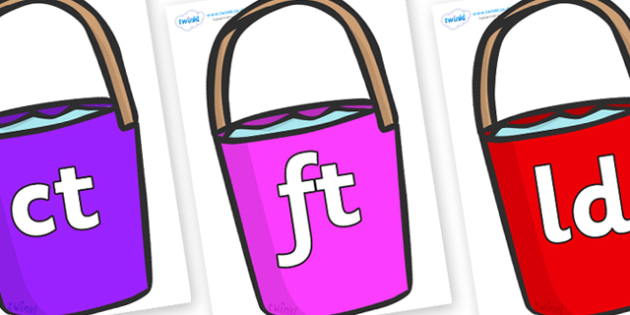 Final Letter Blends on Bucket - Final Letters, final letter, letter blend, letter blends, consonant, consonants, digraph, trigraph, literacy, alphabet, letters, foundation stage literacy