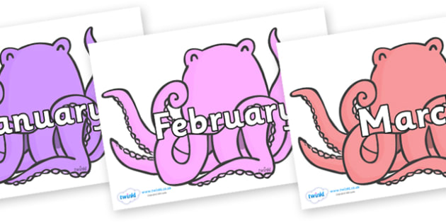 Months of the Year on Octopus to Support Teaching on The Rainbow Fish - Months of the Year, Months poster, Months display, display, poster, frieze, Months, month, January, February, March, April, May, June, July, August, September