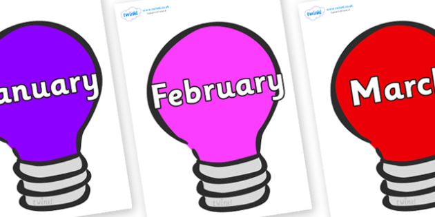 Months of the Year on Lightbulbs (Multicolour) - Months of the Year, Months poster, Months display, display, poster, frieze, Months, month, January, February, March, April, May, June, July, August, September
