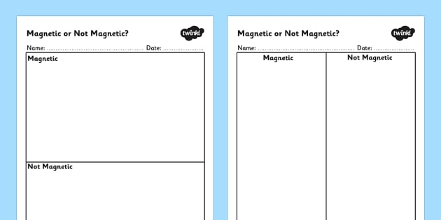Magnetic Not Magnetic Table - magnetic materials, magnetic or not magnetic worksheet, magnets, magnets worksheet, magnets sorting worksheet, ks2 science