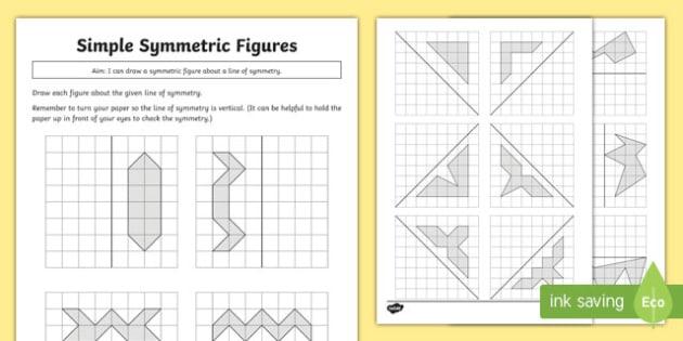 Geometry: Complete Simple Symmetric Figures Activity Sheets, worksheet