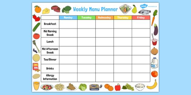 Childminder Weekly Menu Planner - childminder, menu, planner