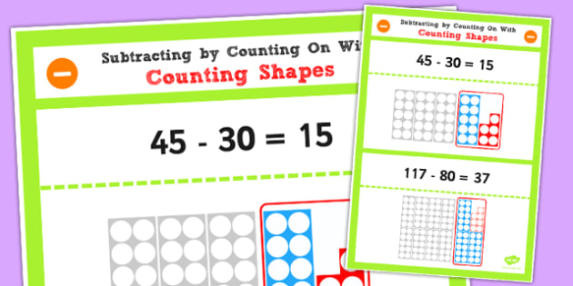 Year 2 Subtracting 2 Digit Numbers and Tens by Counting Shapes