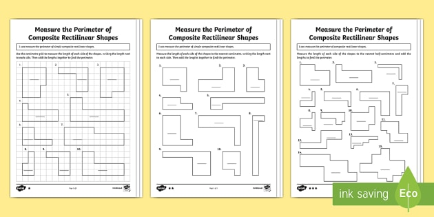 Year 5 Measure the Perimeter of Composite Rectilinear Shapes Differentiated Activity Sheets