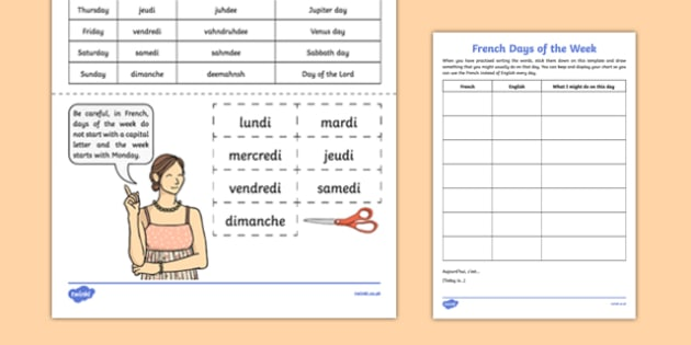 French Days of the Week - french, days of the week, vocabulary