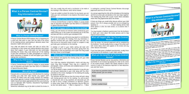 What is a Person Centred Review Information Leaflet - person centred review, information leaflet