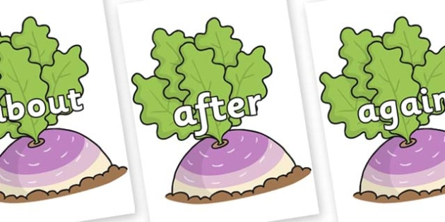 KS1 Keywords on Turnip in the Ground - KS1, CLL, Communication language and literacy, Display, Key words, high frequency words, foundation stage literacy, DfES Letters and Sounds, Letters and Sounds, spelling