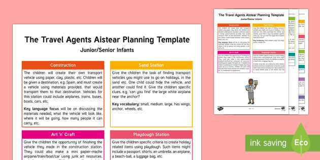 The Travel Agents Aistear Planning Template - Aistear, Infants, English Oral Language, School, The Garda Station, The Hairdressers, The Airport, T