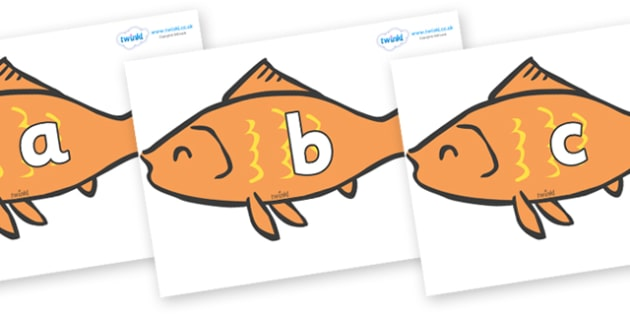 Phase 2 Phonemes on Goldfish - Phonemes, phoneme, Phase 2, Phase two, Foundation, Literacy, Letters and Sounds, DfES, display
