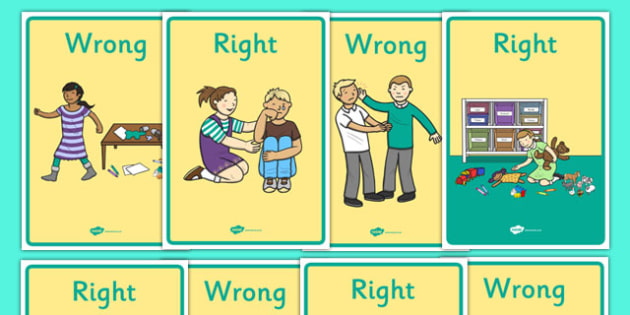 Right and Wrong Display Posters - CfE, Health and Wellbeing, Rights Respecting Schools