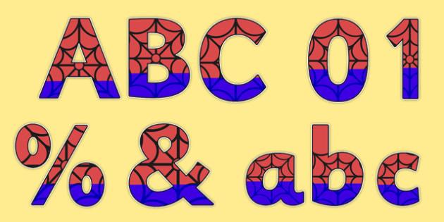 Spider Superhero Themed Display Lettering Pack - sprider superhero, superhero, spider, display lettering, display, lettering, numbers, pack