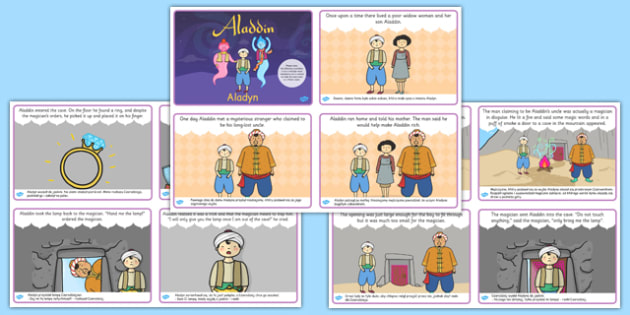 Aladdin Story Sequencing Cards Polish Translation - polish, aladdin, story, sequencing, traditional tale