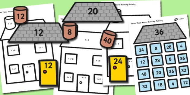4 Times Table Active Picture Building Activity House - times table, times tables