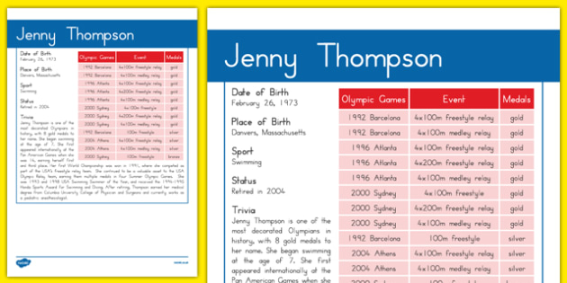 USA Olympians Jenny Thompson Fact File