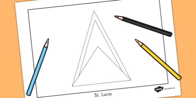 St Lucia Flag Colouring Sheet - countries, geography, flags