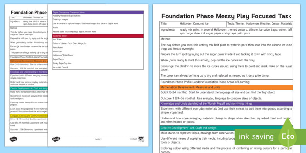 Foundation Phase Messy Play Focused Task Recipe Planning Template - Halloween, Ice, Coloured Ice, Wales, Materials, Digital Competence, Welsh