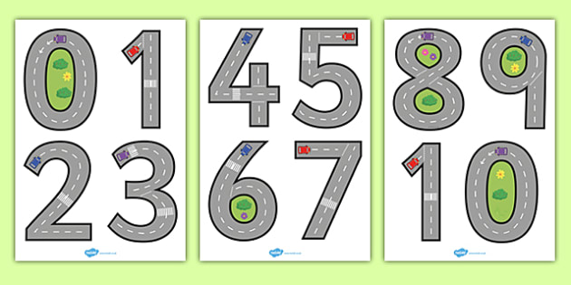 Road Themed Number Formation - road, themed, number formation, number, formation, numeracy, fine motor skills