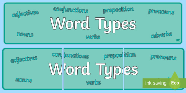 Word Types Banner - word types, banner, display, display banner, word, types