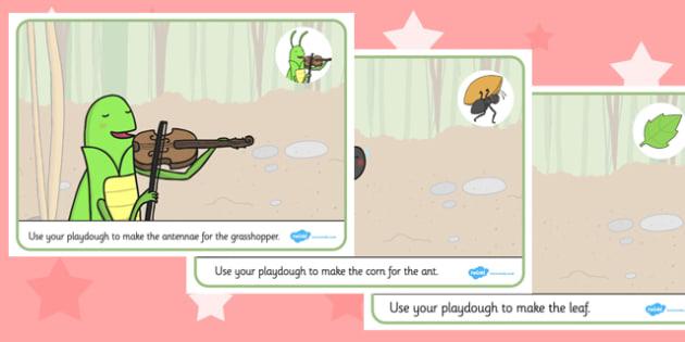 The Ant and the Grasshopper Playdough Mats - playdough, mats, ant
