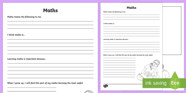 Maths Reflection Writing Template