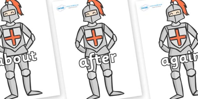 KS1 Keywords on Knights - KS1, CLL, Communication language and literacy, Display, Key words, high frequency words, foundation stage literacy, DfES Letters and Sounds, Letters and Sounds, spelling