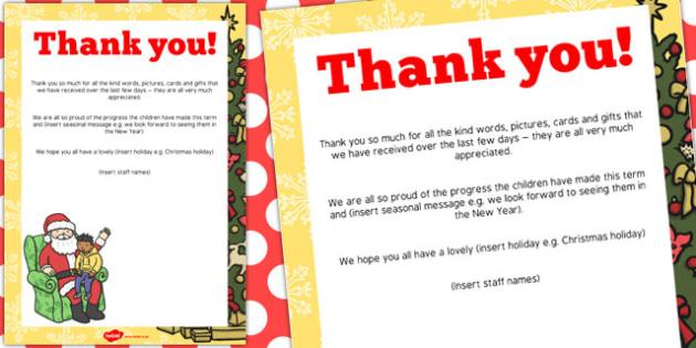 Christmas Editable End of Term Thank You Poster - christmas, end of term
