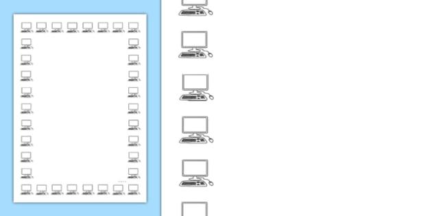 Computer Screen Portrait Page Borders- Portrait Page Borders - Page border, border, writing template, writing aid, writing frame, a4 border, template, templates, landscape