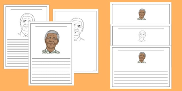 Nelson Mandela Writing Frame - nelson mandela, writing frame, writing template, writing guide, writing aid, line guide, writing guide, themed writing aid