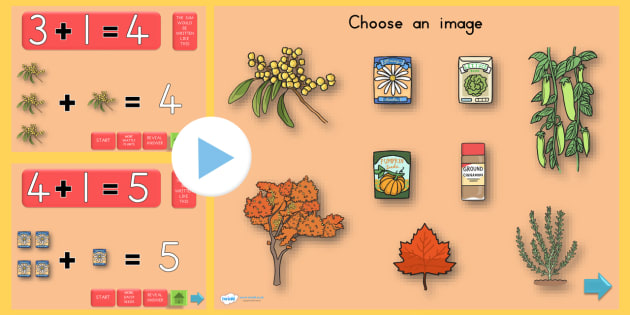 Autumn Themed Addition PowerPoint - add, adding, seasons, weather