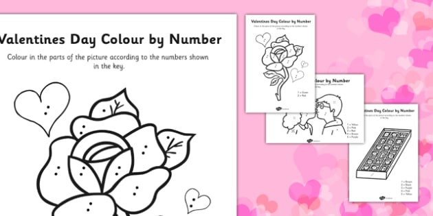 Valentine's Day Colour By Numbers Dots - colour, number dots, number, dots, valentines day