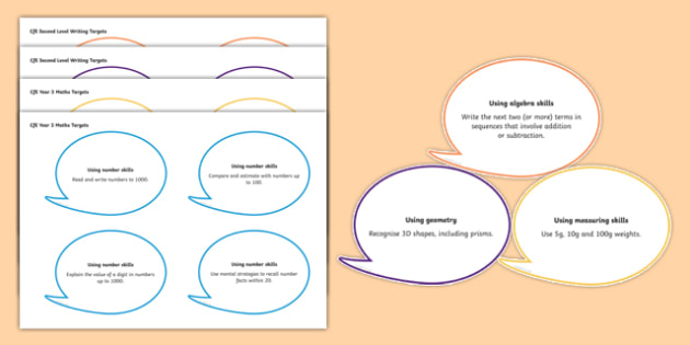 Year 3 Maths Assessment Targets on Speech Bubbles Display Cut Outs-Welsh