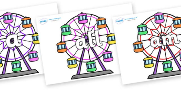 Foundation Stage 2 Keywords on Ferris Wheels - FS2, CLL, keywords, Communication language and literacy,  Display, Key words, high frequency words, foundation stage literacy, DfES Letters and Sounds, Letters and Sounds, spelling