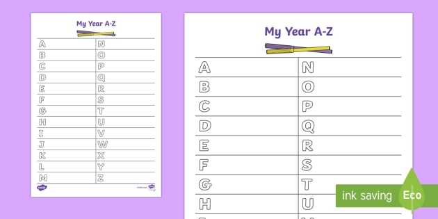 End of Year A-Z Writing Activity Sheet
