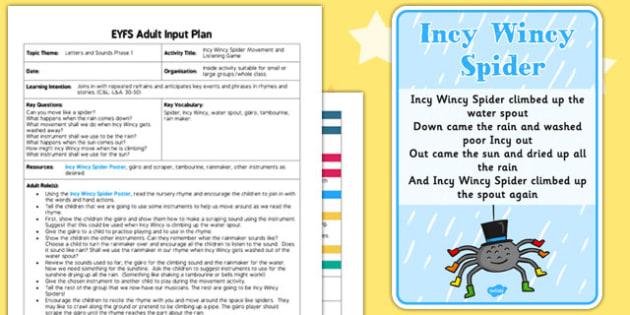 Incy Wincy Spider Movement Listening Activity EYFS Adult Input Plan Pack