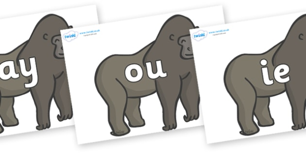 Phase 5 Phonemes on Gorillas - Phonemes, phoneme, Phase 5, Phase five, Foundation, Literacy, Letters and Sounds, DfES, display