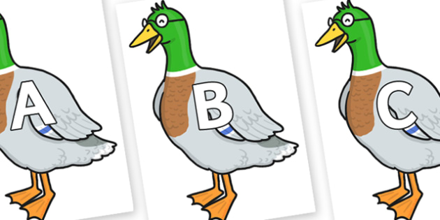 A-Z Alphabet on Drakey Lakey - A-Z, A4, display, Alphabet frieze, Display letters, Letter posters, A-Z letters, Alphabet flashcards