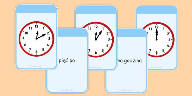 Karty do dopasowania Czas po polsku - godzina, zegar