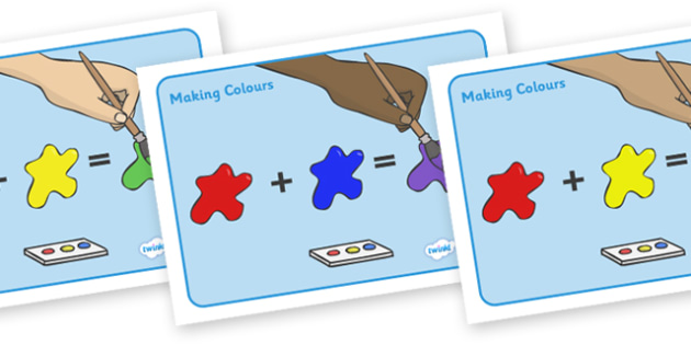 Mixing Colours Posters - colours, making colour, sheets, mixing, red, blue, green, yellow, black, white