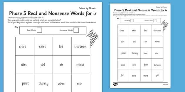 Phase 5 'ir' Colour by Phoneme Real and Nonsense Words - phase 5