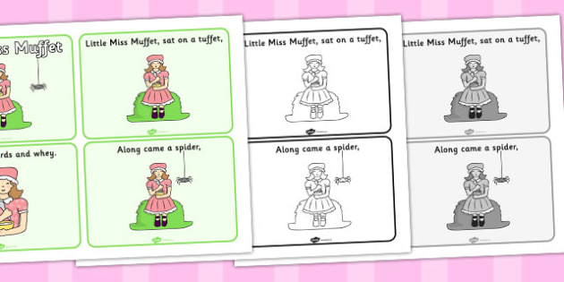 Little Miss Muffet Sequencing (4 per A4) - Little Miss Muffet, nursery rhyme, sequencing,rhyme, rhyming, nursery rhyme story, nursery rhymes, Little Miss Muffet resources
