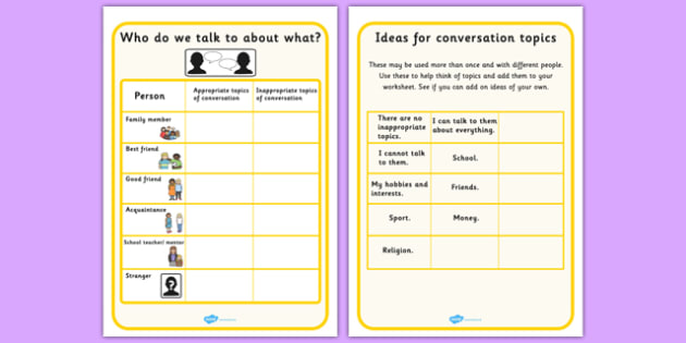 Who Do We Talk To About What Worksheet With Topic Support - SEN, friends