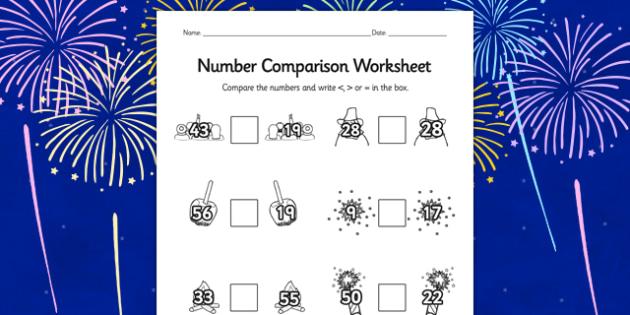 Bonfire Night Number Comparison Worksheet - compare, maths, math