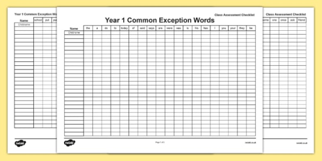 Year 1 Common common exception Words Editable Whole Class Assessment Checklist - spelling, ks1, literacy, english progress, marking, test, testing, phonics