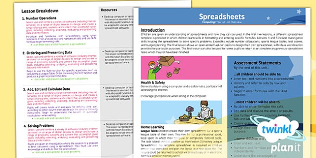 PlanIt - Computing Year 6 - Spreadsheets Planning Overview - planit, computing, unit