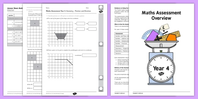 Year 4 Maths Assessment Geometry Position and Direction Term 1 - maths