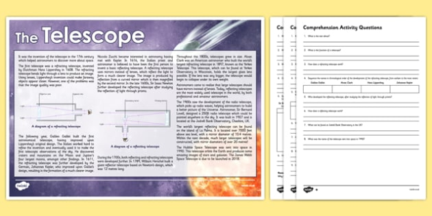 Telescope Differentiated Comprehension Activity - telescope, astronomy, space, invention, reflecting, refracting, light, mirrors, lens