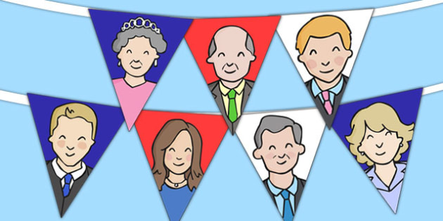 The Royal Family Display Bunting - royality, queen elizabeth