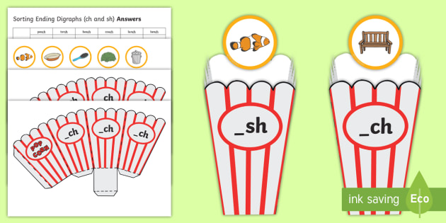 Sorting ending digraphs _sh and _ch Cut-Outs - Sorting, digraphs, sounds, letters, grapheme, phonic, ,Australia