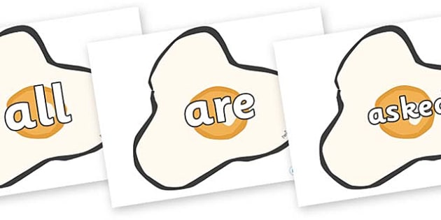 Tricky Words on Fried Eggs - Tricky words, DfES Letters and Sounds, Letters and sounds, display, words