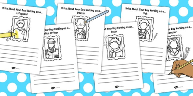 Write About Your Day Working as a Activity Sheet - working, day, worksheet
